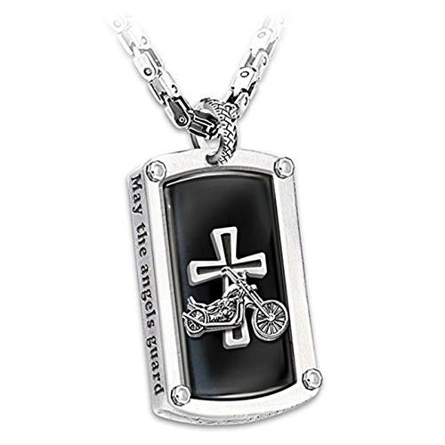 Dingyue Biker Bendición grabada colgante collar para hombres cruz colgante collar collar cadena collar joyería regalo