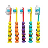 Stesa Kids Toothbrush - 5 Pack - Soft Bristles, BPA Free, Suction Cup for Fun Storage, Dust Covers Included - Boys and Girls Toddler Toothbrush - Age 3+