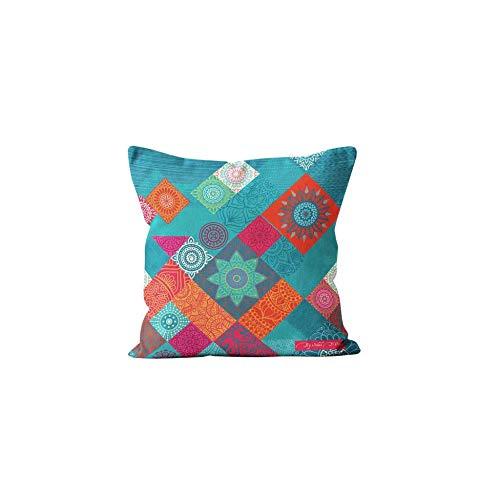 Soleil d'ocre Patchwork - Funda de cojín, algodón, Multicolor, 40 x 40 cm