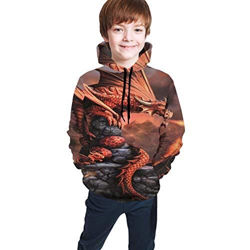 Dragon Sudadera con Capucha y Estampado Infantil Pullover Pocket Boy Girl Top Negro M