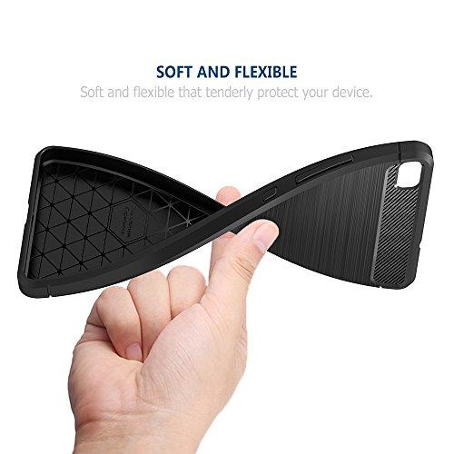 Simpeak Hülle Kompatibel für Huawei P8, Premium Weiche Karbonfaser Elastisch Schützendes Rückseiten-Case Kompatibel mit Huawei P8 - 6