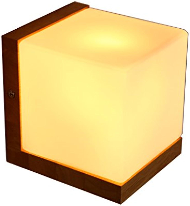 JU FU -Lichtbefestigung Einfache und innovative kubische Nachttischlampe im japanischen Stil Massivholz Wandlampe @