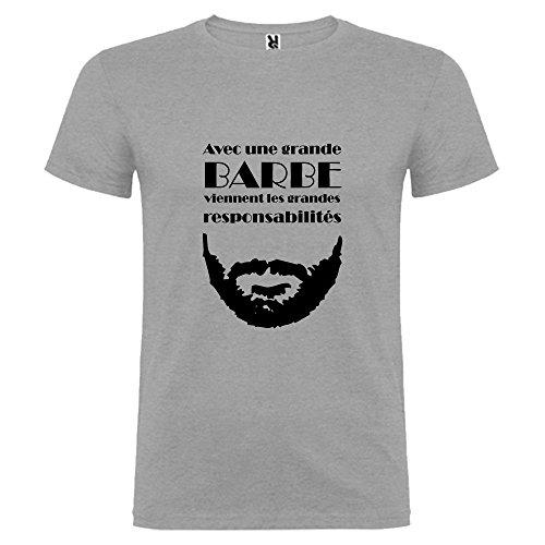 Tip Top - Camiseta para hombre con una gran barba Vient, las gandes responsabilidades, color gris Impression Noire M