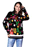 Women's Christmas Sweater Ugly Pullover Funny Santa Glitter Lights Reindeer Fair Isle- Medium