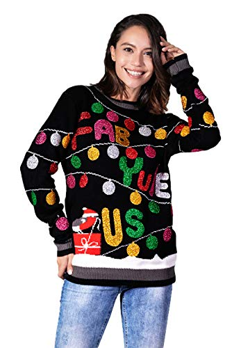 Women's Christmas Sweater Ugly Pullover Funny Santa Glitter Lights Reindeer Fair Isle, X-Large