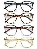 Un Pack de 4 Gafas de Lectura 1.5 /Gafas para Presbicia para Hombres y Mujeres,Buena Vision Ligeras Comodas,Vista de Cerca/Vista Cansada