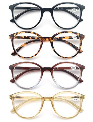 MODFANS (4 Pack) Lesebrille Rund Herren Damen,Gute Brillen,Hochwertig,Mode,Komfortabel,Super Lesehilfe,fur Frauen