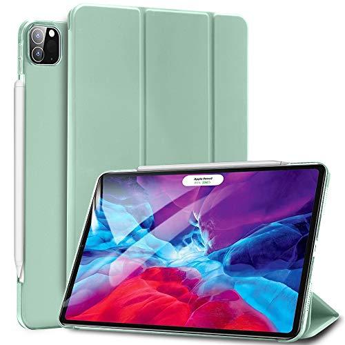 Sripns Hülle für iPad Pro 12.9' 4. Generation 2020, Kompatibel mit Pencil, Ultradünn Leicht Dreifach Falt Smart Case mit Transluzent Rücken Deckel und Auto Schlaf/Wach - Mint Grün