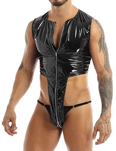 TiaoBug Herren Wetlook Body Lack Leder Ouvert Stringbody mit Durchgehendem Reisverschluss Männer Kurzes Overall Hoher Beinausschnitt Jumpsuit Clubwear Schwarz XL