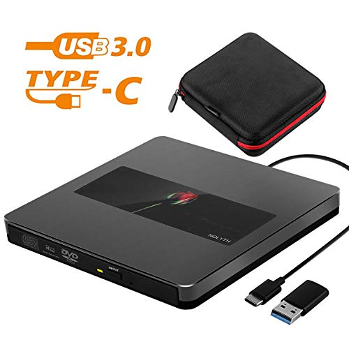 Nolyth Externer USB C DVD CD Player Externer optischer SuperDrive CD-Brenner für Apple Laptop Mac MacBook Pro Air iMac Windows 10 schwarz USB C/USB3.0 External DVD CD Drive Black