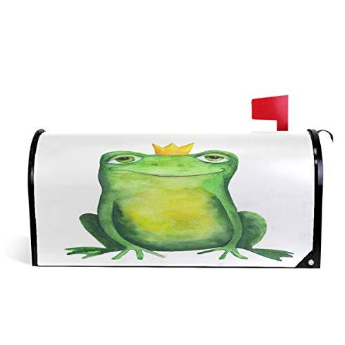 Oarencol Lustiger Frosch in Krone Aquarell Tier Süße Briefkasten-Abdeckung, magnetisch, groß Briefkasten-Wraps Garten Hof Home Decor Übergröße 65,5 x 53 cm