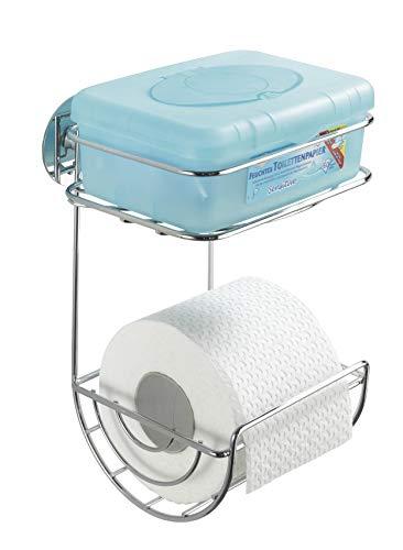 Wenko Turbo-Loc Toilettenpapierhalter mit Ablage, Befestigen ohne bohren, Stahl, 16,5 x 24,5 x 14 cm, chrom