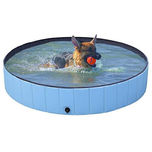 Yaheetech Swimming Pool Wasserbecken für Hunde, Faltbare Plantschbecken 160 x 30 cm PVC, tragbare Badewanne Waschbad Haustier Schwimmbad