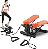 Multifuncional Mini Mini Hidráulico Fitness Stepper con Pantalla LCD Máquina Aerobic Cardio Ejercicio Entrenador en Bandas de Resistencia Ejercicios Carga 150KG-Orange_B