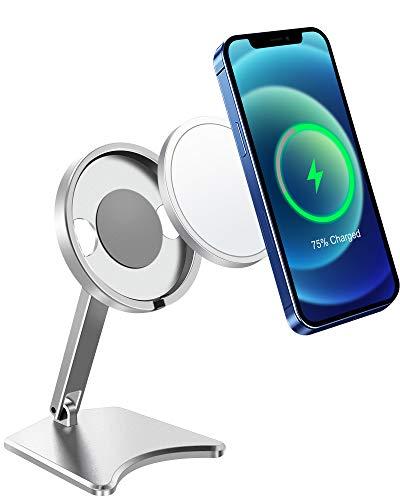 Supporto per caricatore Magsafe pieghevole in alluminio per caricabatterie magnetico senza fili compatibile con Magsafe Wireless Charge per iPhone 12, 12 Mini, 12 Pro (non incluso Magsafe)