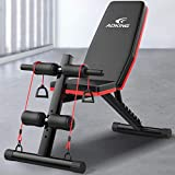 Home Gym Adjustable Weight Bench Foldable Workout Bench Sit Up AB Incline Abs Bench Flat Fly Press Fitness Rope