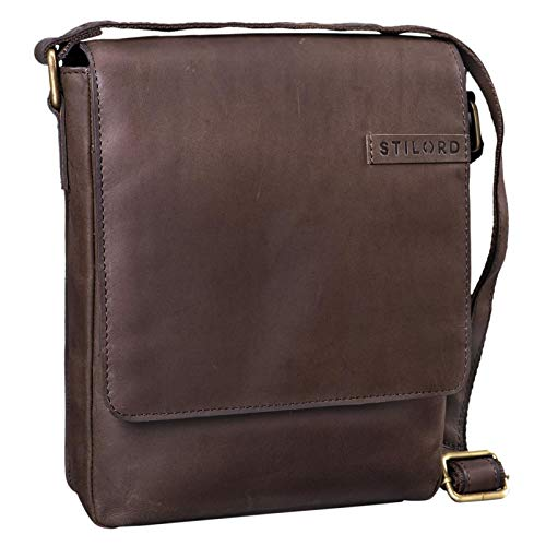 STILORD 'Dario' Borsello in pelle Borsa a tracolla uomo in cuoio vintage Piccola borsa messenger tablet e iPad da 10.1 pollici di vera pelle, Colore:marrone scuro - pallido
