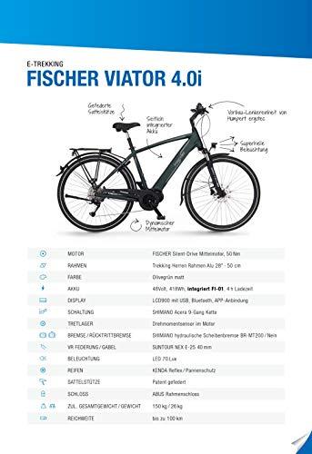 FISCHER Herren – E-Bike Trekking VIATOR 4.0i (2020), grün matt, 28 Zoll, RH 50 cm, Mittelmotor 50 Nm, 48 Volt Akku im Rahmen kaufen  Bild 1*