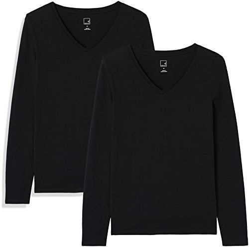 Marca Amazon - MERAKI Camiseta de Manga Larga y Cuello de Pico Mujer, Negro (Black Beauty/Black Beauty), 38, Label: S