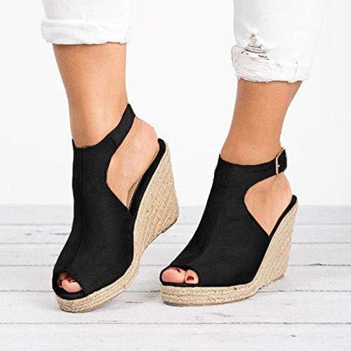 CHENtian1 Style Romain Femmes Compensé Plateforme Sandales Chaussure Sandale Espadrille Ouvert lanière Cheville Plateforme Talon compensé Talons Hauts Chaussures Mode Poisson Bouche Pantoufles