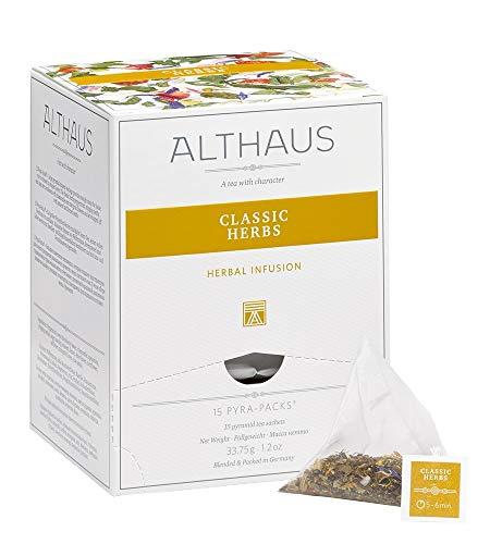Althaus Tee CLASSIC HERBS ⋅ Kräutertee im Pyramidenbeutel PYRA PACK ⋅ Naturbelassener Kräutertee aus klassischen Teekräutern ⋅ 15 x 2,25g
