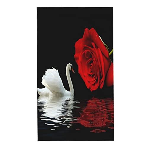 COFEIYISI Toallas de Manos Cisnes Cisnes Blancos y Amor romántico Rosas Rojas Flores en el Agua Reflejos Amante del día de San Valentín Toalla Facial Toalla de baño pequeña Absorebentes 40x70cm