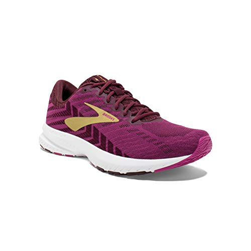 Brooks Womens Launch 6 Mesh Aster Fig Gold Trainers 4 UK