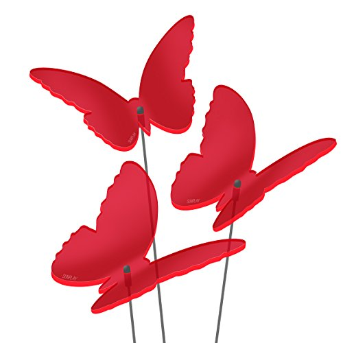 "SUNPLAY Sonnenfänger ""Schmetterlinge Maddy"" in ROT, 3 Stück je 10 cm Durchmesser im Set + 35 cm Schwingstäbe"