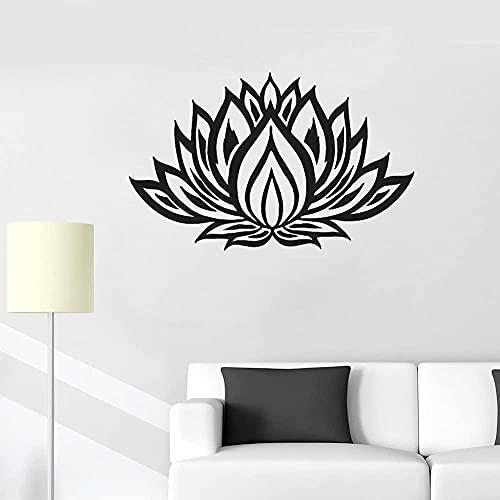 wwccy pegatina lotus yoga pegatina de pared calcomanía dormitorio vinilo calcomanía mural decoración del hogar sala de estar yoga 89x56cm