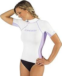 Cressi Damen Rash Guard Kurzarm, UV-Schutz UPF 50+, Weiß/Lila, M/3 (40)
