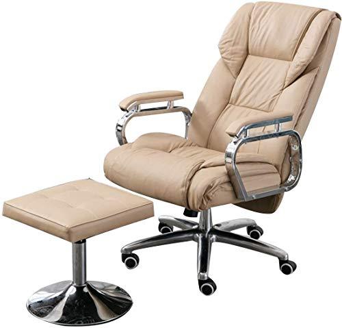 BRFDC Noble Chair Premium Leder Swivel Recliner Stuhl und Fußhocker ergonomischer Executive Office Stuhl Verstellbare Höhe Sofa Sessel Erweiterte Legrest (Color : Cream Color)