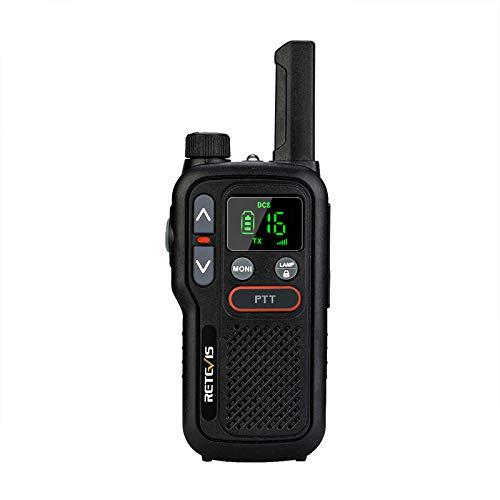 Retevis RB618 Mini Walkie Talkie, PMR446 sin Licencia 16 Canales, Linterna LED, Doble PTT, LCD Squelch, VOX Manos Libres, Walkie-Talkie (1Pieza, Negro)