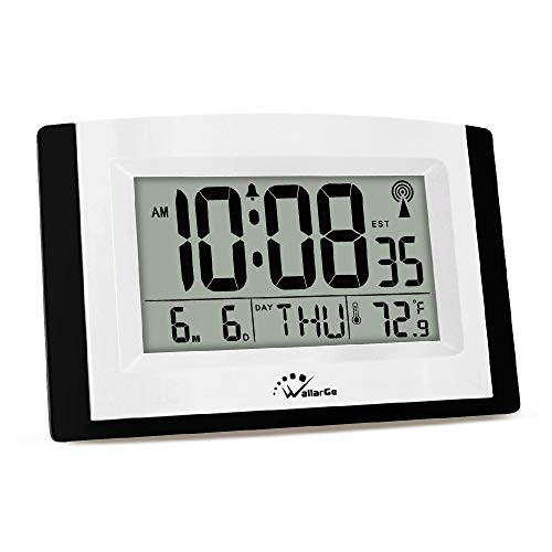 WallarGe Digital Wall Clock,Autoset Atomic Clock with Temperature and Date,Battery Operated Alarm Clock,Large Digital Display,Easy to Read Day of The Week.