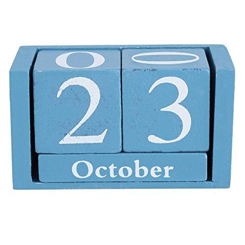 Calendario de madera, Calendario de madera Vintage Escritorio Bloque de madera Mes Pantalla de fecha Decoración de la oficina en casa(Azul)