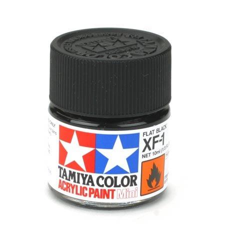 TAMIYA 81701–Acrylfarbe Mini, matt schwarz, Flasche 10ml, 1