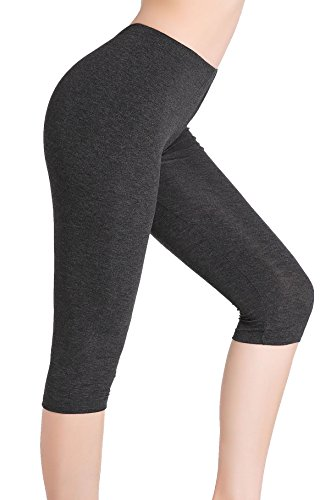 CnlanRow Womens Under Skirt Cropped Pants - Ultra Soft Stretch Capris Leggings for Women Dark Gray
