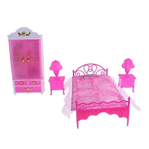 NON MagiDeal 6pcs Miniatura Muebles de Dormitorio Casa de Muñecas Cama Armario Armario Lámpara de Mesa