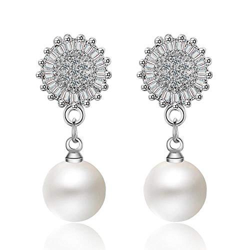 Pendientes Mujer Exquisitos Pendientes De Declaración 925 Joyería De Plata Circón Perlas De Cristal Pendiente De Gota Mujeres Accesorio De Boda-Plata