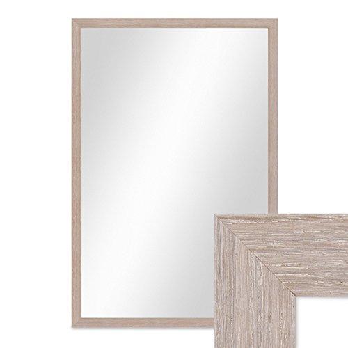 PHOTOLINI Wand-Spiegel 43x63 cm im Holzrahmen Sonoma Eiche Hell Modern/Spiegelfläche 40x60 cm