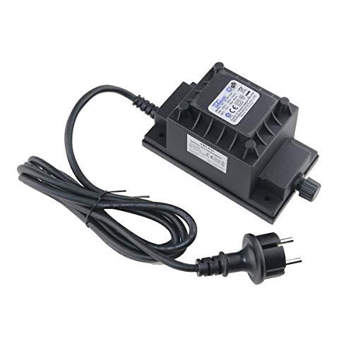 VBLED® 80W Netzteil/Trafo/Transformator 12V AC wassergeschützt IP67 für außen Input 230V Output 12V Anschluss IP44 1,9 m Kabel für Gartenspot/Gartenstrahler