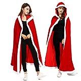 Dreamworldeu Disfraz de Navidad para mujer, capa de terciopelo, disfraz de Papá Noel, capa de Papá Noel para adultos