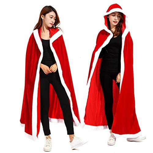 Dreamworldeu Damen Weihnachten Kostüm Umhang Samt Weihnachtskostüm Miss Santa Umhang Nikolaus für Erwachsene