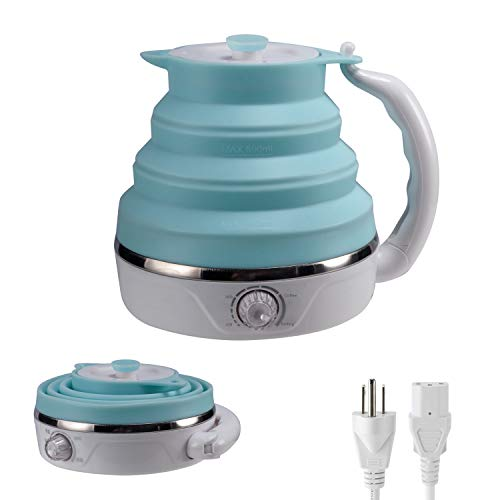 Collapsible Travel Kettle, Silicone Foldable Electric Kettle,0.6 Liter, Adjustable temperature control, (Blue...