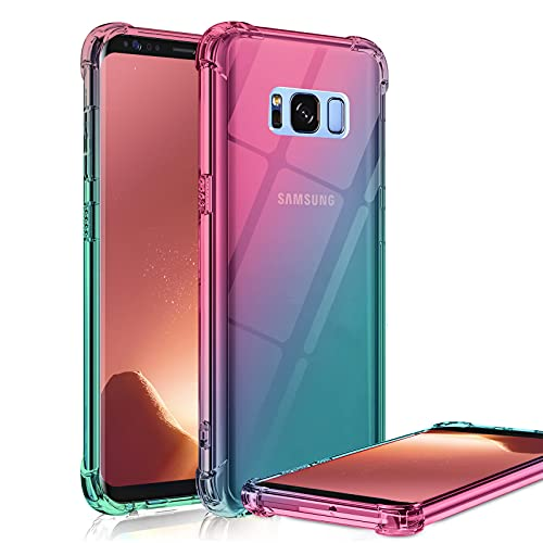 Galaxy S8 Case Clear Cute Gradient Shockproof Bumper Protective Cell Phone Case for Samsung Galaxy S8 5.8 Inch Soft TPU Back Covers for Women Girls Flexible Slim Fit Rubber Silicone (Pink/Green)