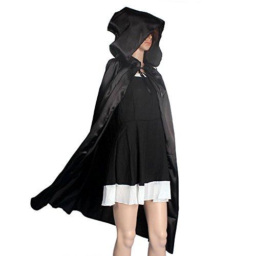 VECDY Damen Blouse,Räumungsverkauf-Mit Kapuze Mantel Mantel Wicca Robe Mittelalterliche Cape Schal Halloween Party Cosplay Halloween Spitze der Hexe(schwarz,XL)