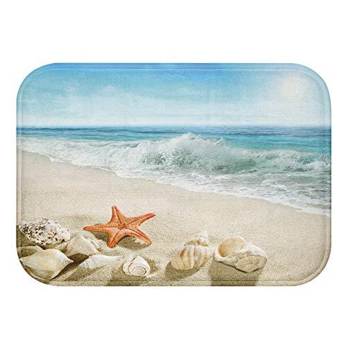 Kikiry Starfish Shell Bathroom Rugs Ocean Sea Beach Bath Mat Non-Slip Soft Absorbent Bath Rug Kitchen Floor Carpet 24x16 Inch