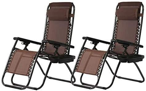 Set of 2 Zero Gravity Chairs Reclining Folding Chairs Yard Bench with Holder BestMassage product image