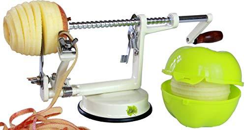 Made for us Éplucheur à pommes professionnel en aluminium avec vide-pomme et boîte à pomme - Vert clair - Manuel d'utilisation (français non garanti) et 3 recettes allemandes inclus