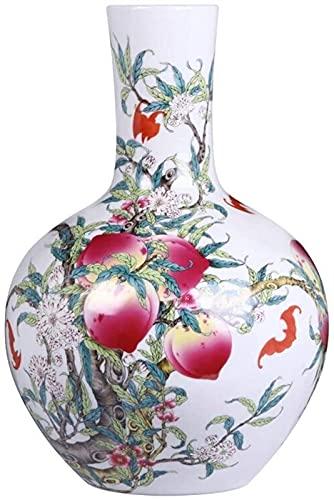 Vase Dekoration Blumentopf Keramik Antike Handgemalte Pastellvase Chinesische Dekoration Garten Wohnkultur Blumentöpfe 33x23cm JXLBB