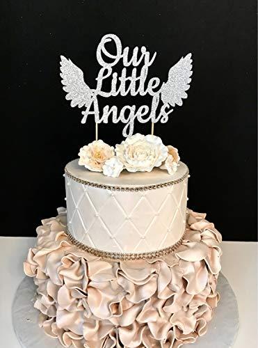Monsety Our Little Angels Zwillinge Baby Shower Tortenaufsatz für Hochzeit, Hochzeit, Party, Gastgeschenke